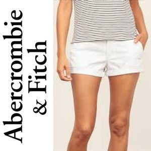 Abercrombie & Fitch Classic White Chino Shorts
